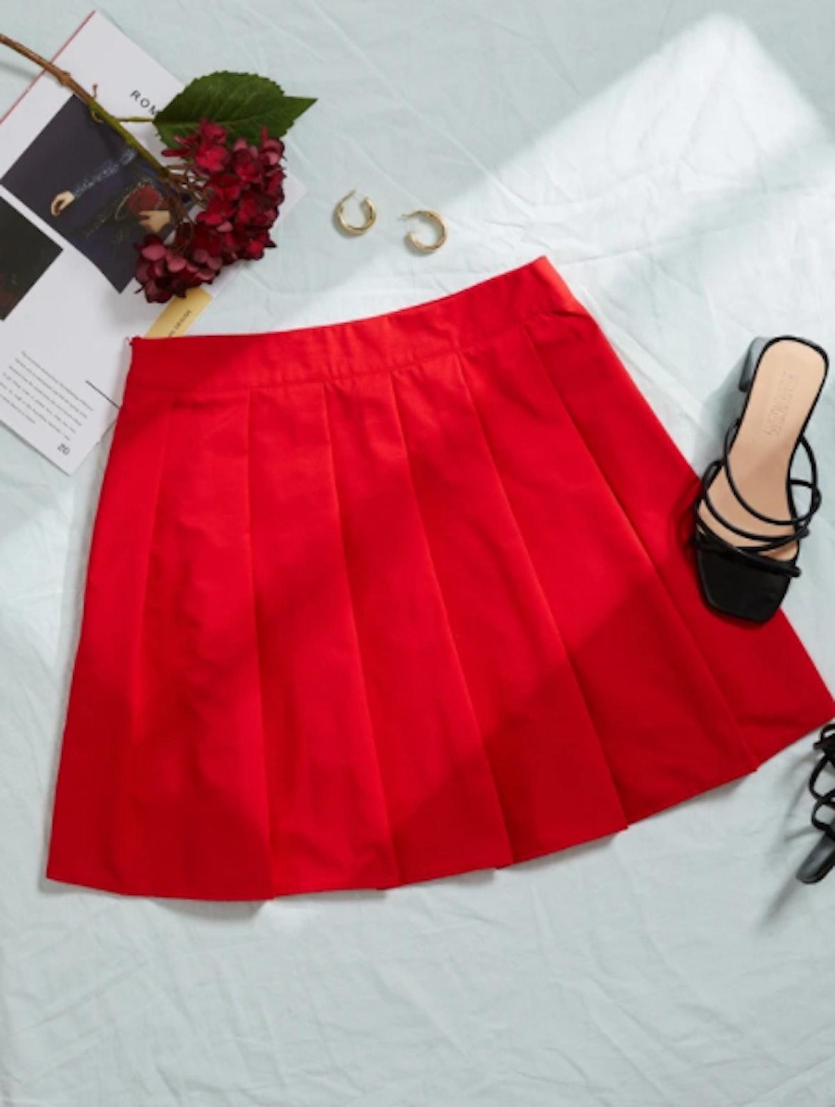 Solid Pleated Hem Skirt