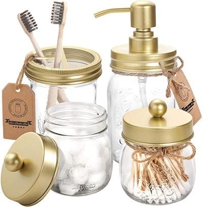 Aozita Mason Jar Bathroom Accessories (4 Pieces)