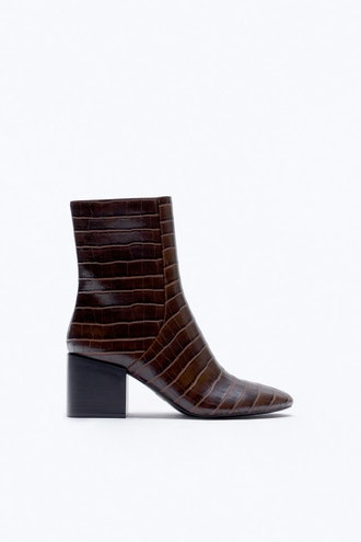 Animal Embossed Wide Heeled Ankle Boots Zara