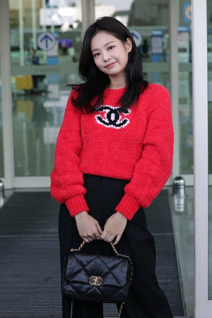 Jennie of South Korean girl group BLACKPINK is seen on departure at Incheon International Airport o...