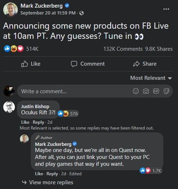 Mark Zuckerberg commenting on Oculus Rift 3 not coming any time soon on Facebook post