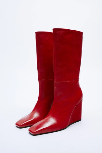 Leather Wedge Ankle Boots Zara