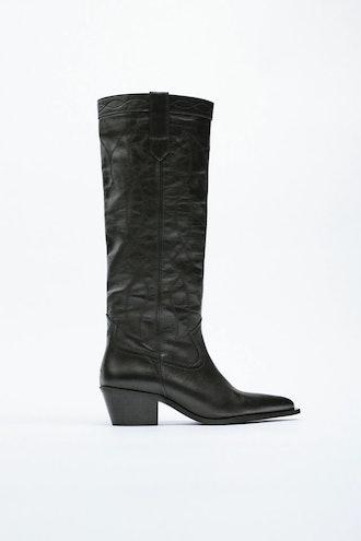 Leather Cowboy Boot Zara
