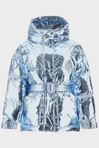Ienki Ienki Michlin Belted Down Jacket in Metallic Blue.