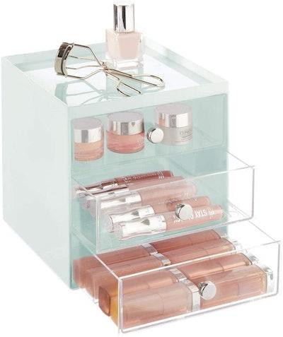 mDesign Plastic Makeup Organizer Storage Station
