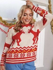 SHEIN Plus Drop Shoulder Christmas Sweater