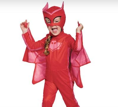 Girl wearing an Owlette costume