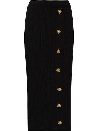 Balmain's Six Button Midi Skirt.