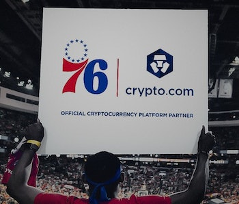 A press photo announcing the partnership between the 76ers and crypto.com
