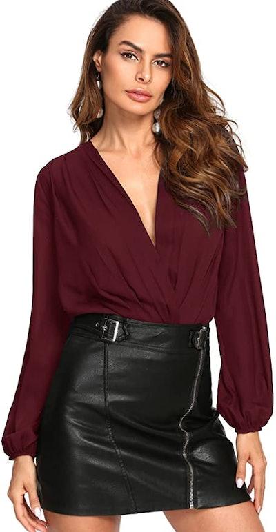 Verdusa Women's Long Sleeve V-Neck Bodysuit