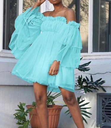 Off-The-Shoulder Flare Sleeve Tulle Dress