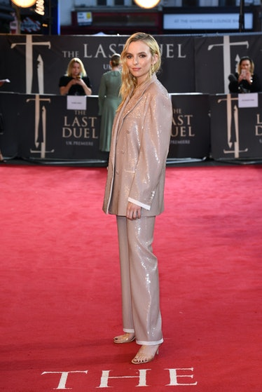 """Jodie Comer attends the UK premiere of 20th Century Studios' """"The Last Duel"""" at the Odeon Luxe Leice..."""