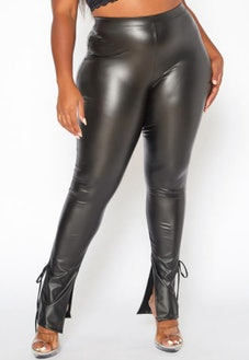 Plus Size Faux Leather Ankle Tie Leggings