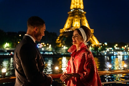 Lily Collins as Emily Cooper, Lucien Laviscount as Alfie in 'Emily In Paris' Season 2