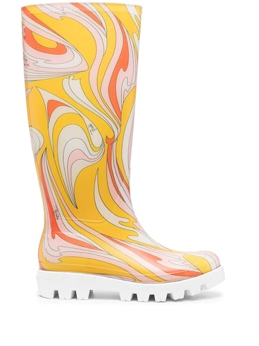 Emilio Pucci's abstract-print rain boots.