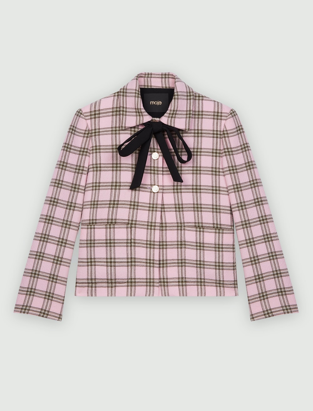 CHECKED JACKET WITH CONTRASTING NECKTIE