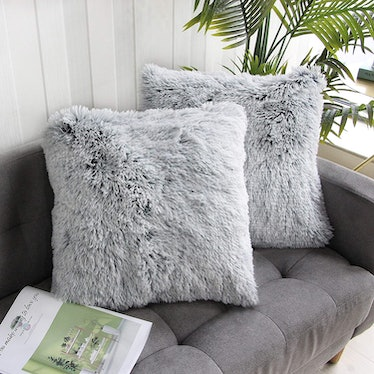 Uhomy Faux Fur Throw Pillow Cover (2 Pack)