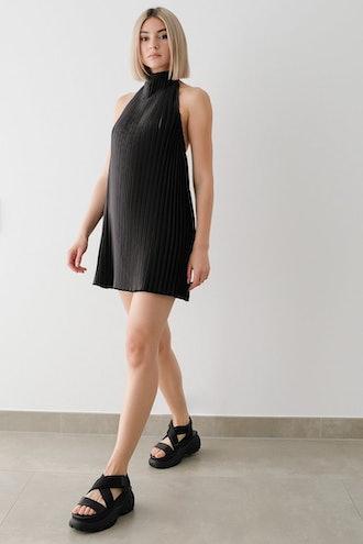 Halterneck Pleated Mini Dress