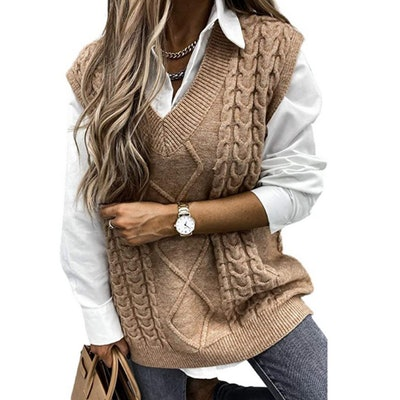 HOTAPEI Cable Knit Sweater Vest