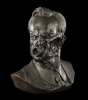 agent smith face punch bust bronze