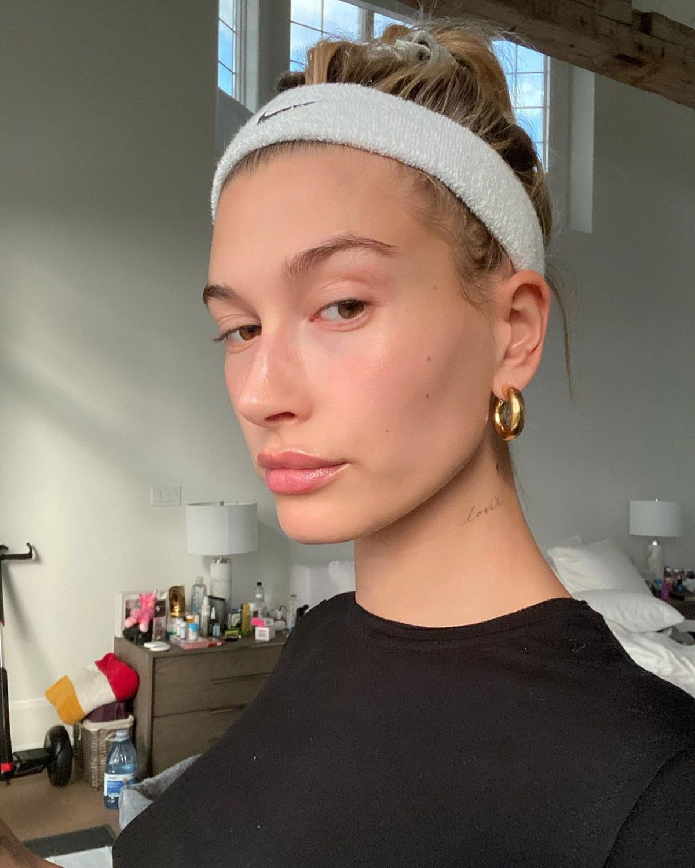 Hailey Bieber skin care Instagram selfie