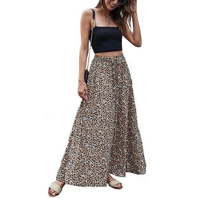 Bluetime Leopard Print Maxi Skirt