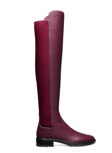 Stuart Weitzman's over-the-knee boot in the color cranberry.