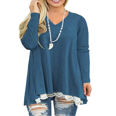 VISLILY Plus Size Lace Hem Tunic
