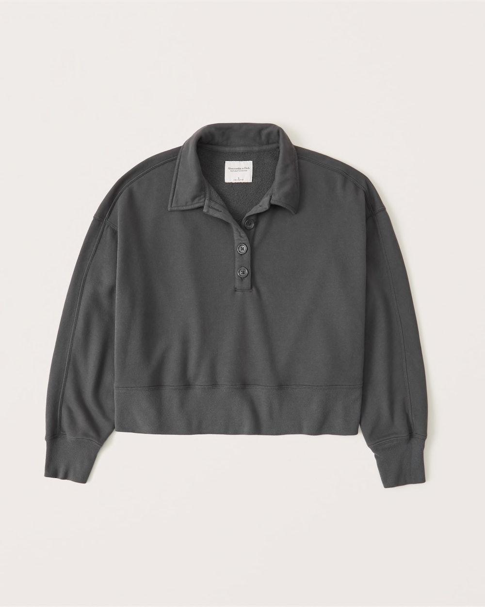 90s Sharkbite Long-Sleeve Polo Sweater