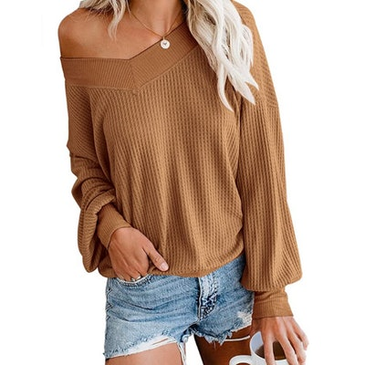 Adreamly V Neck Waffle Knit Pullover Sweater
