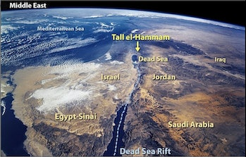 Now called Tall el-Hammam, the city is located about seven miles northeast of the Dead Sea in what i...
