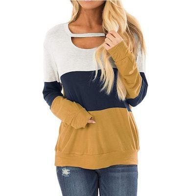 Topstype Color Block Cutout Sweatshirt