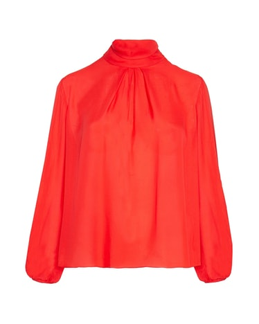 Draped High Neck Long-Sleeved Blouse
