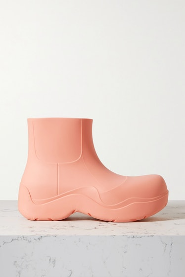 Bottega Veneta's baby pink ankle rain boots.