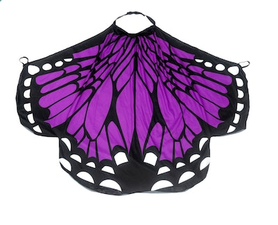 Image of a kid-size purple and black butterfly-wing cape.