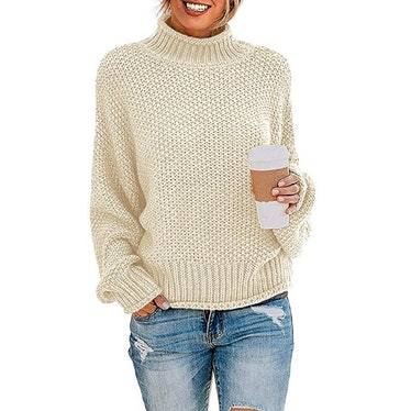 ZESICA Turtleneck Knitted Pullover Sweater