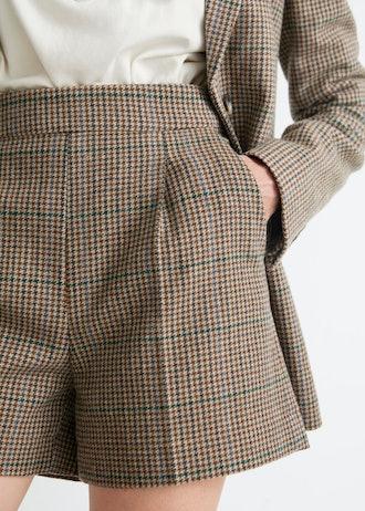 Checkered Wool Shorts