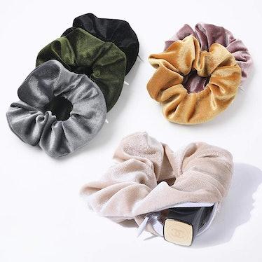 LOBABA Velvet Scrunchies With Zipper Pocket (6 Pack)