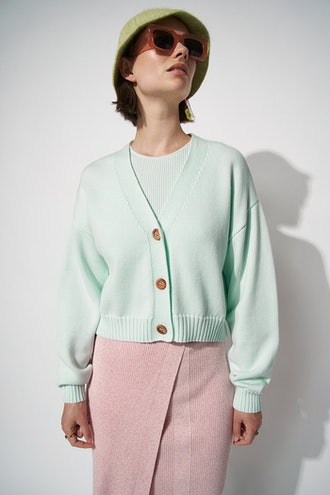 100% Organic Knitted Marl Cropped Cardigan