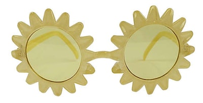 Image of yellow kid's sunglasses with sun-shaped frames.
