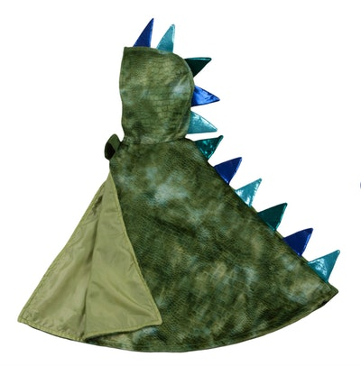 """Image of a child's hooded cape with """"dragon"""" spikes down the back."""
