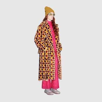Gucci Geometric faux fur coat