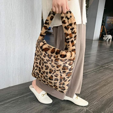 Ovida Leopard Print Faux Fur Tote Bag