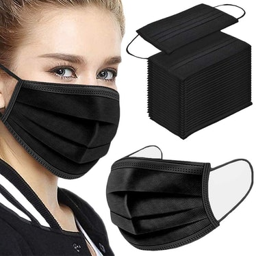 NNPCBT 3 Ply Black Disposable Face Masks (100-Pack)