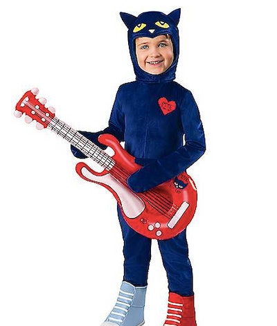Toddler wearing a Pete the Cat costume
