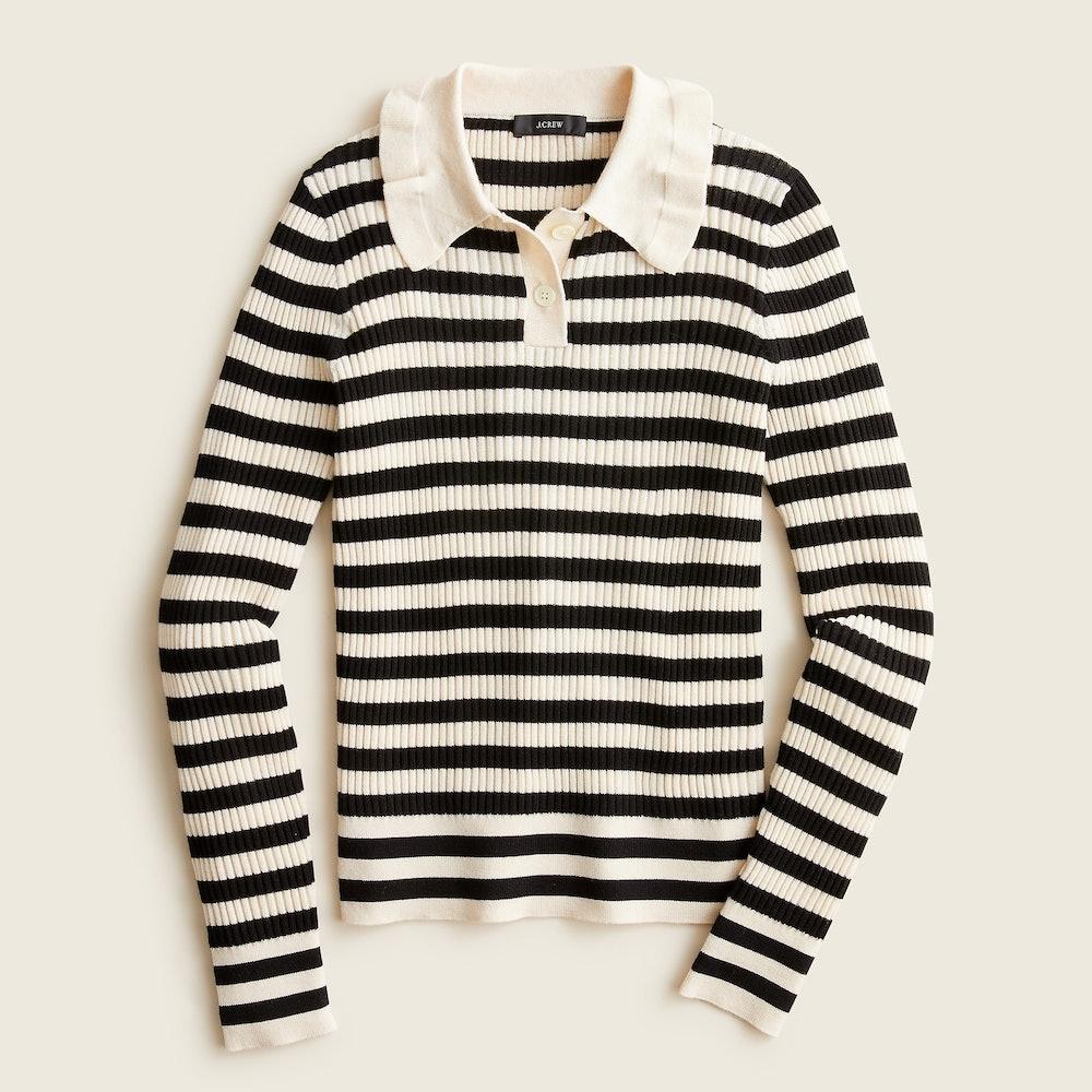 Ruffle-Collar Ribbed Merino Wool Sweater