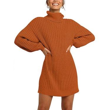 ANRABESS Turtleneck Pullover Dress