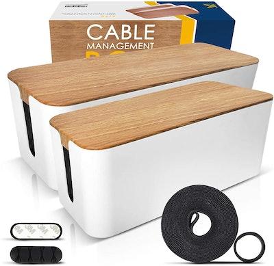 KASOLUTION Cable Management Box (2-Pack)