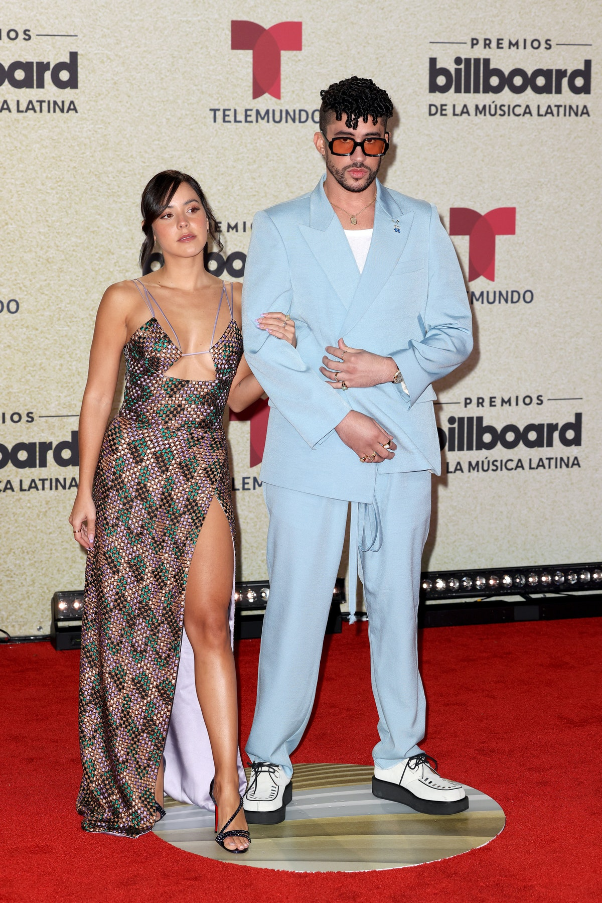 Gabriela Berlingeri, Bad Bunny on the red carpet at the Watsco Center in Coral Gables, FL on Septemb...