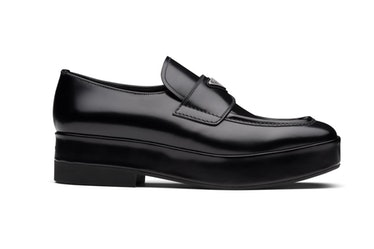 Prada's black brushed leather loafers.